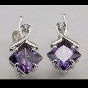 New white gf. Amethyst cz earrings